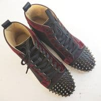 Christian Louboutin Navy & Burgundy Spikes High Tops Size 40